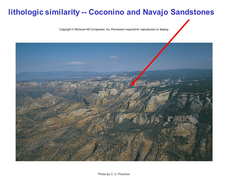 lithologic similarity -- Coconino and Navajo Sandstones