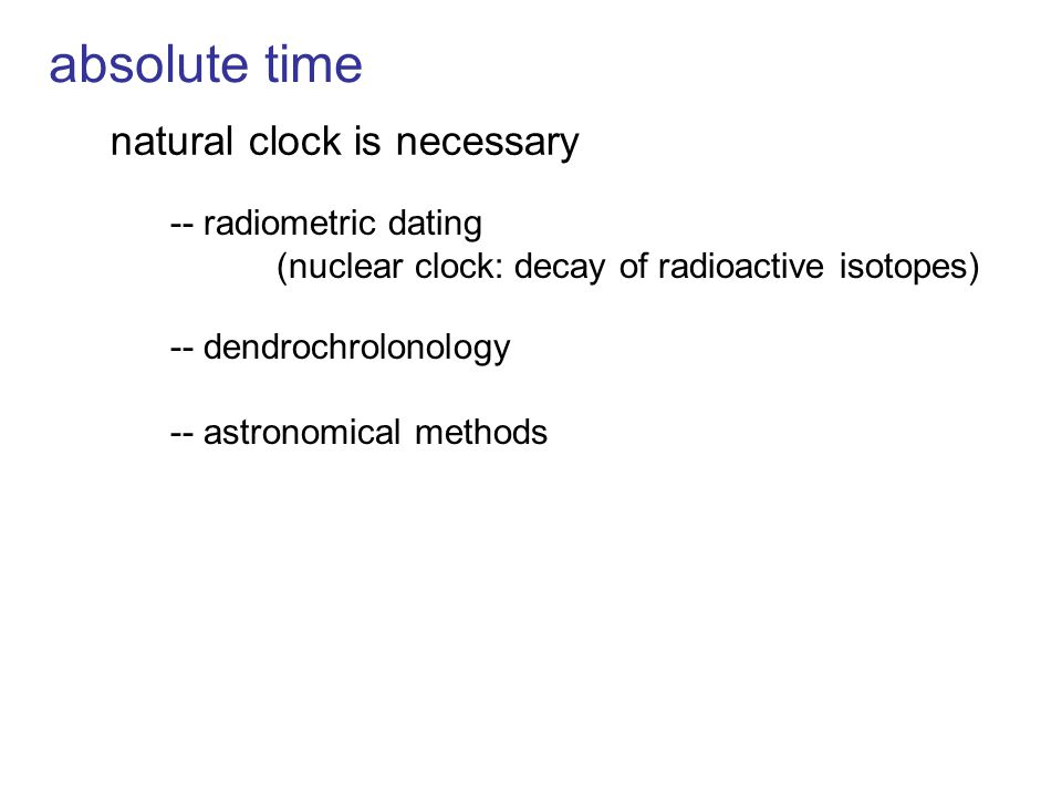 absolute time natural clock is necessary -- radiometric dating