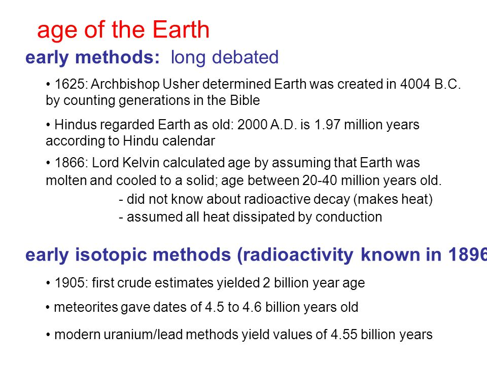 age of the Earth early methods: long debated