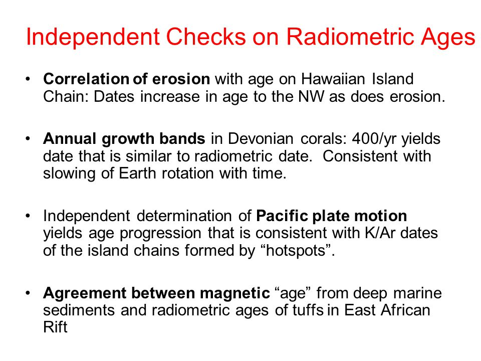 Independent Checks on Radiometric Ages