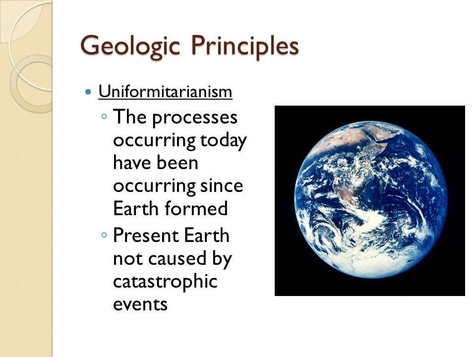 Geologic Principles Uniformitarianism. The processes occurring today have been occurring since Earth formed.