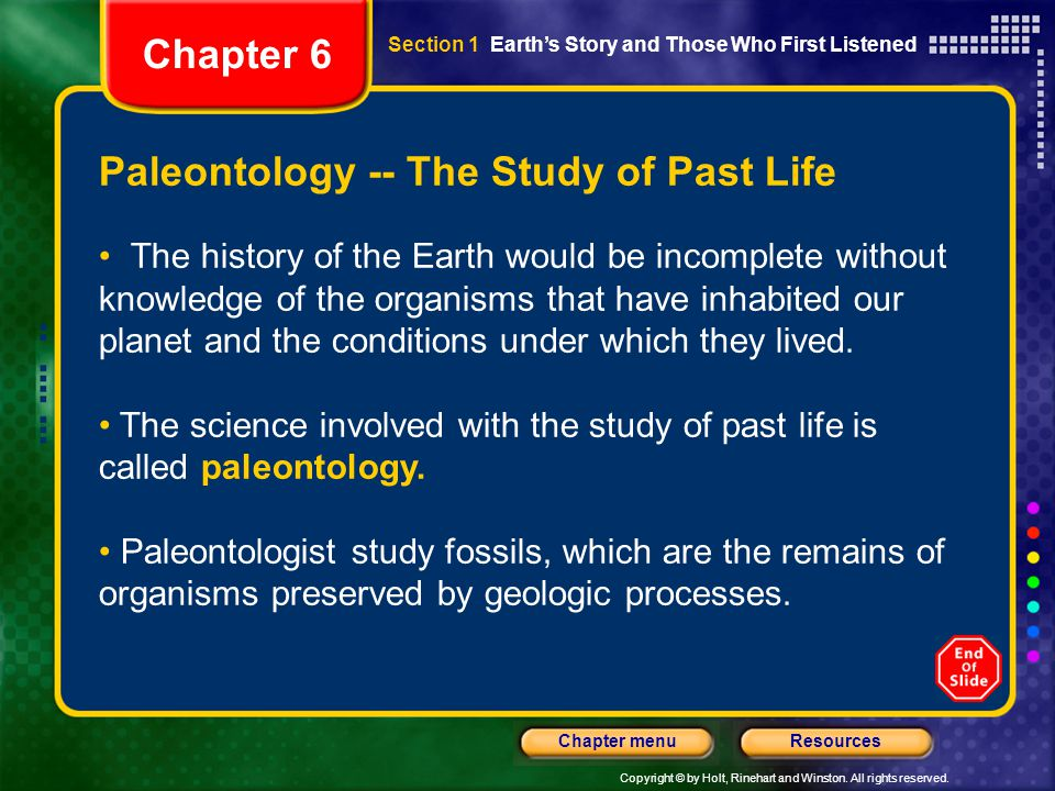 Paleontology -- The Study of Past Life