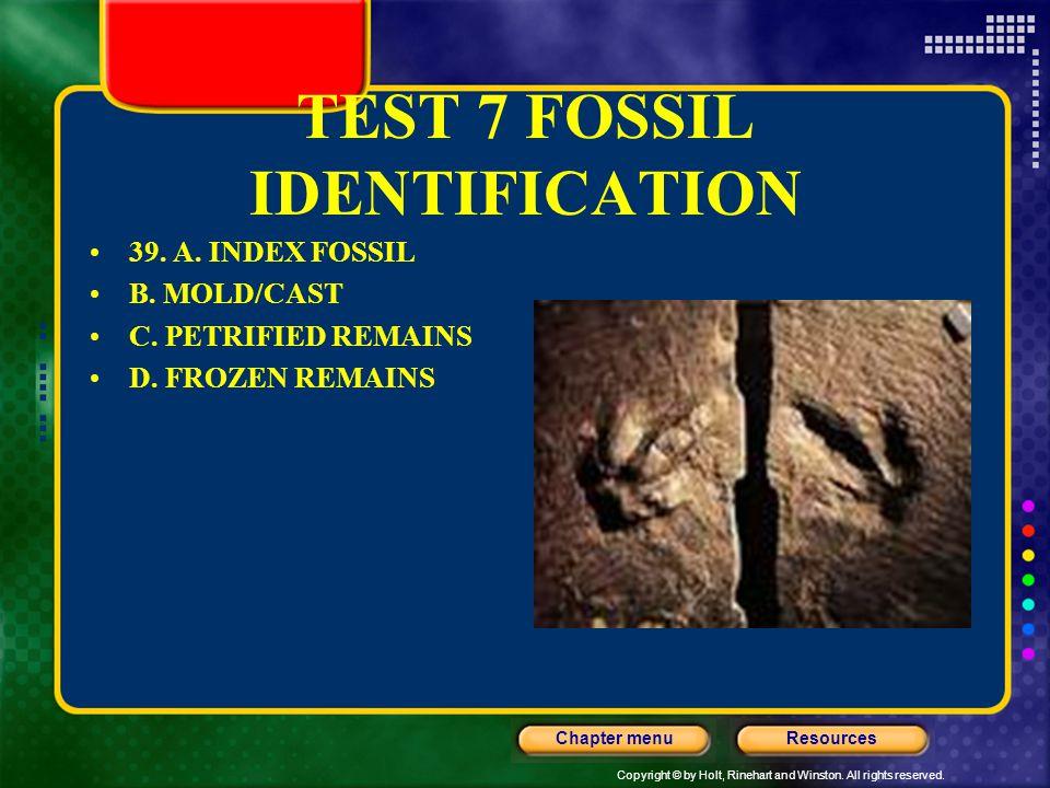 TEST 7 FOSSIL IDENTIFICATION