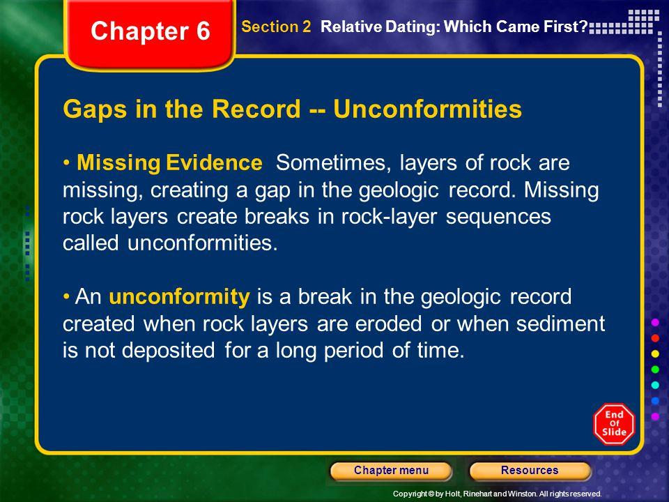 Gaps in the Record -- Unconformities