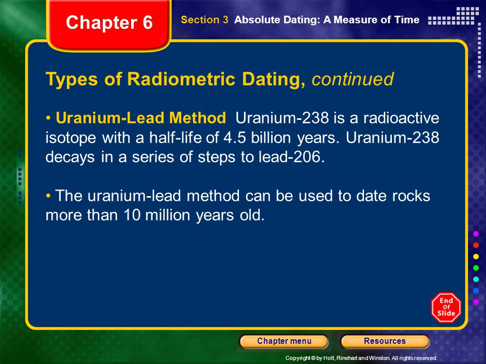 Types of Radiometric Dating, continued