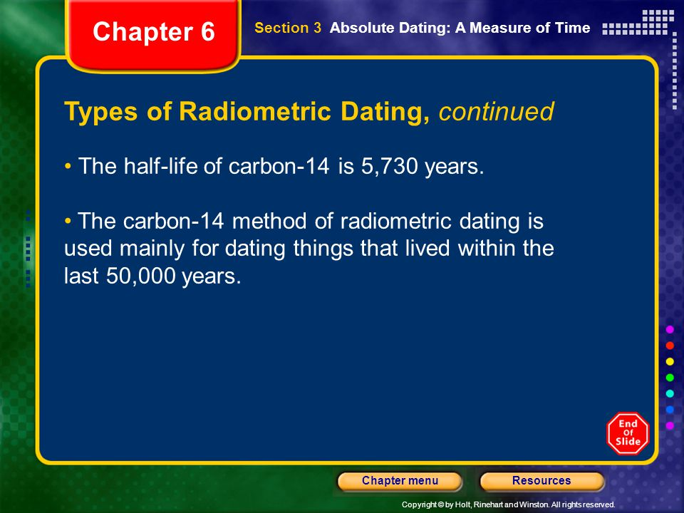 types of absolute dating methods