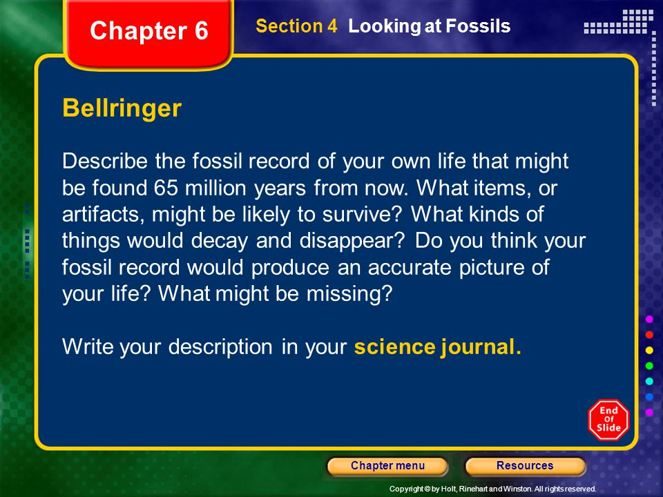 Chapter 6 Section 4 Looking at Fossils. Bellringer.