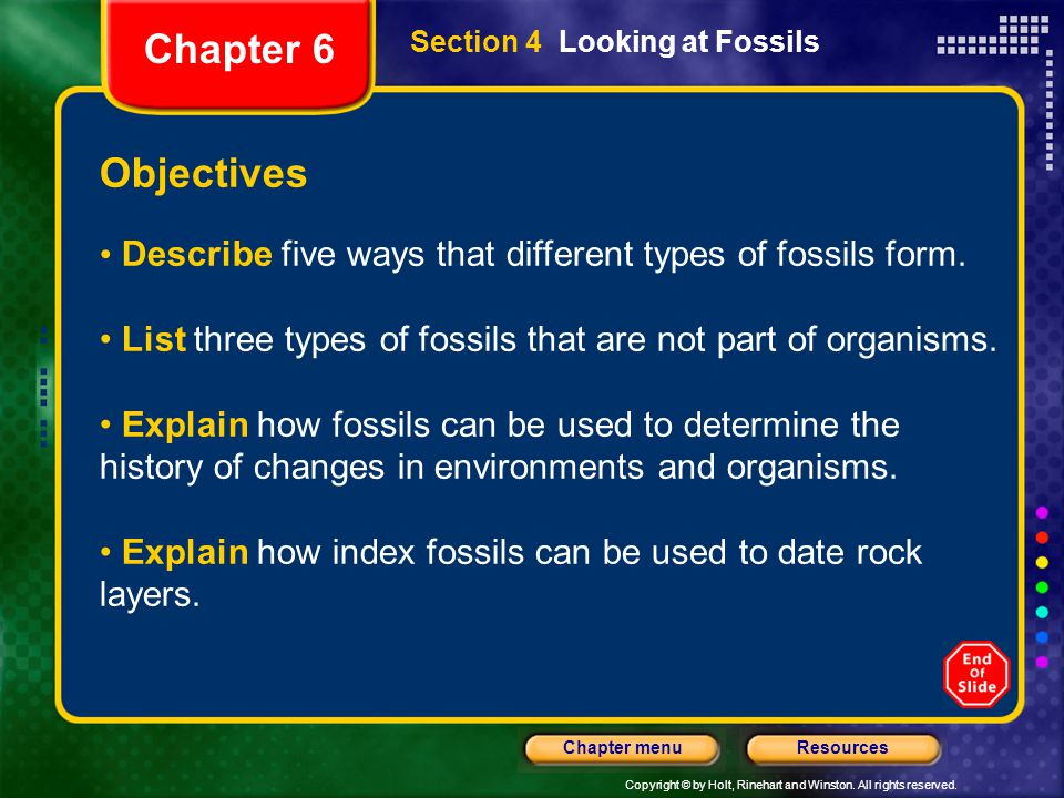 Chapter 6 Section 4 Looking at Fossils. Objectives. Describe five ways that different types of fossils form.