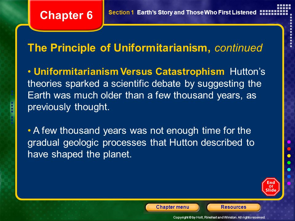 Chapter 6 The Principle of Uniformitarianism, continued
