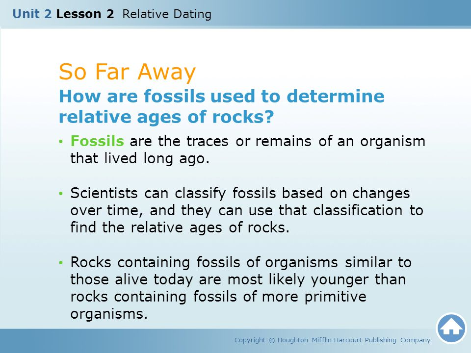 So Far Away How are fossils used to determine relative ages of rocks