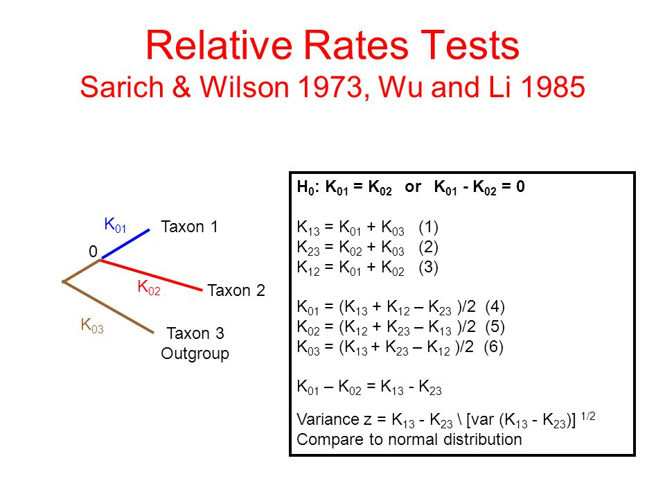 Relative Rates Tests Sarich & Wilson 1973, Wu and Li 1985