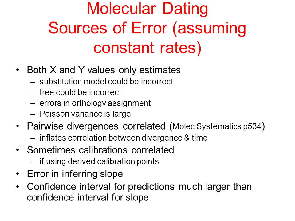 Molecular Dating Sources of Error (assuming constant rates)