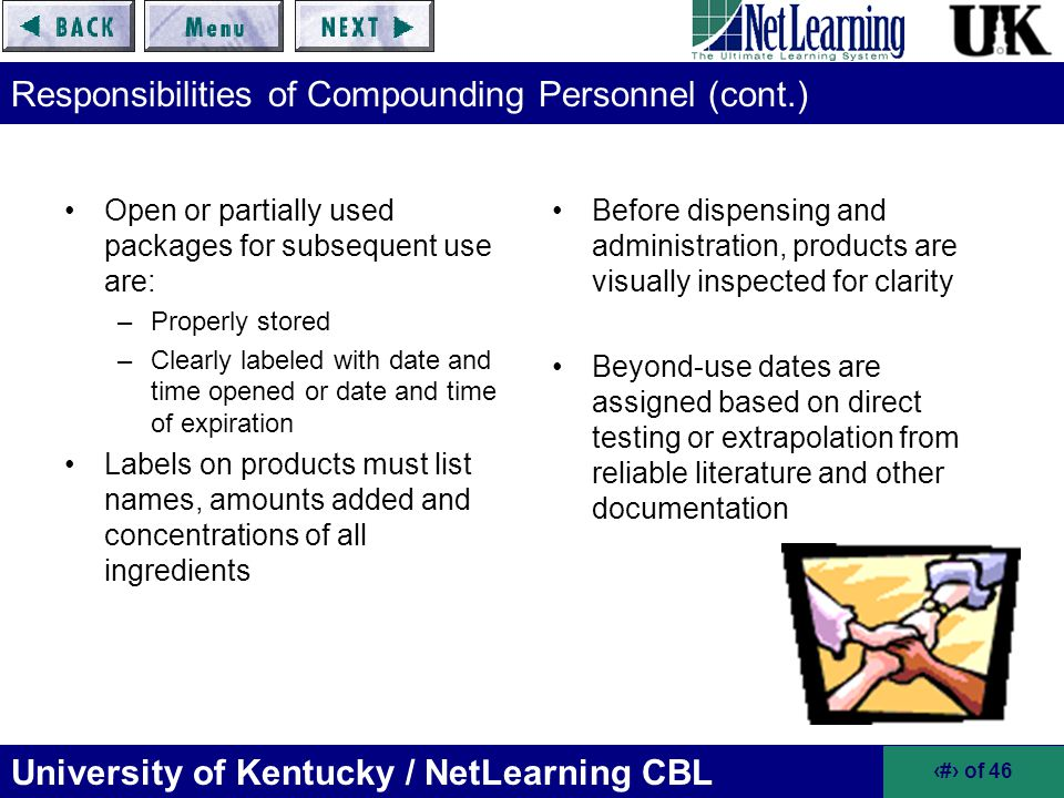Responsibilities of Compounding Personnel (cont.)