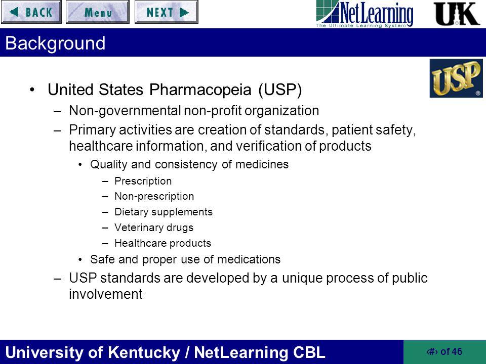 Background United States Pharmacopeia (USP)