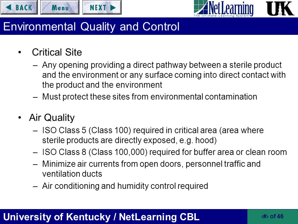 Environmental Quality and Control