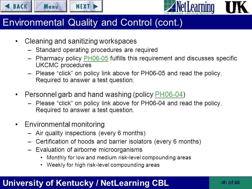 Environmental Quality and Control (cont.)