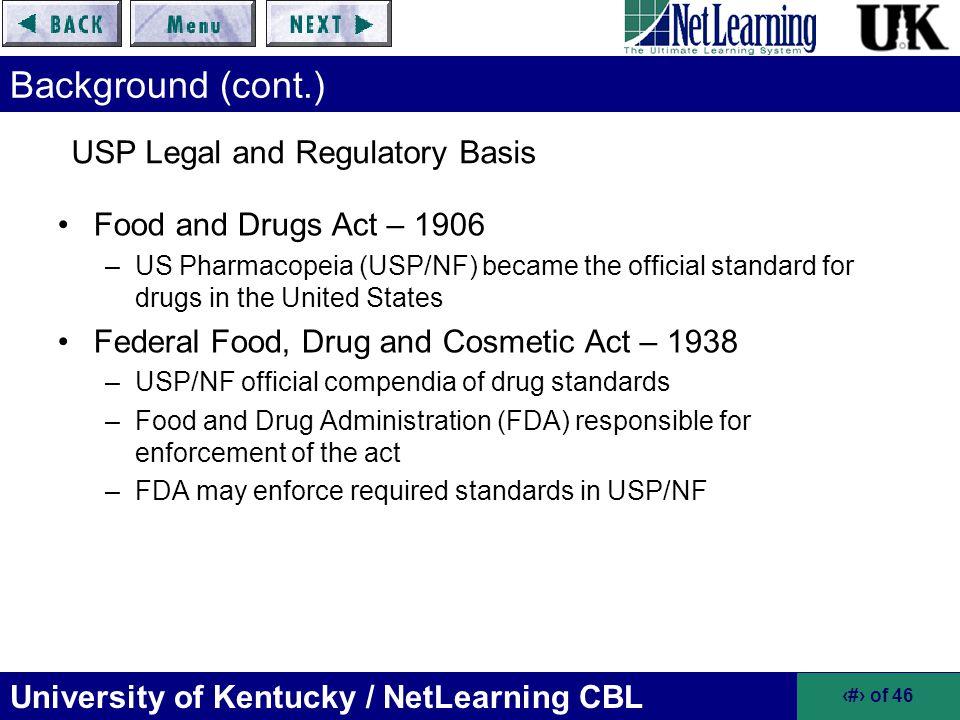 USP Legal and Regulatory Basis