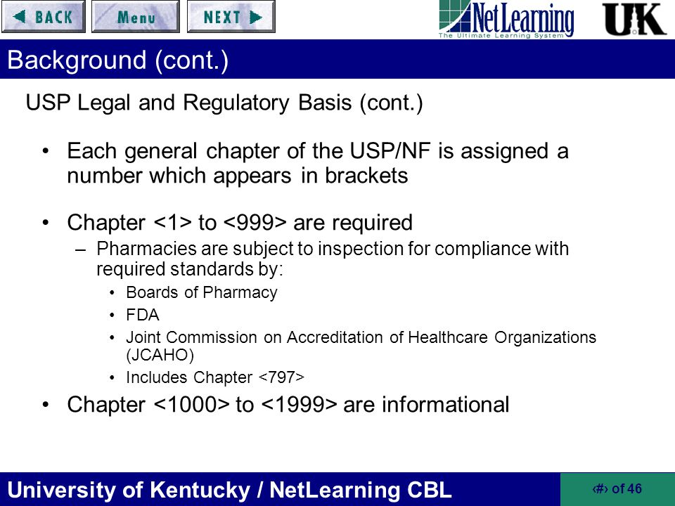 USP Legal and Regulatory Basis (cont.)