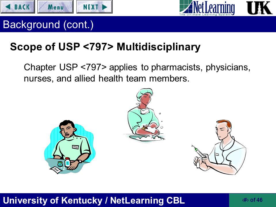 Scope of USP <797> Multidisciplinary