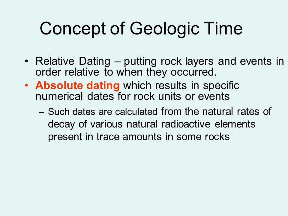 relative and absolute dating of geologic events Geol 4110 class 7 – relative age dating and virtual geologic mapping 3/5/08 in class - powerpoint lecture on relative and absolute age dating of geologic events.