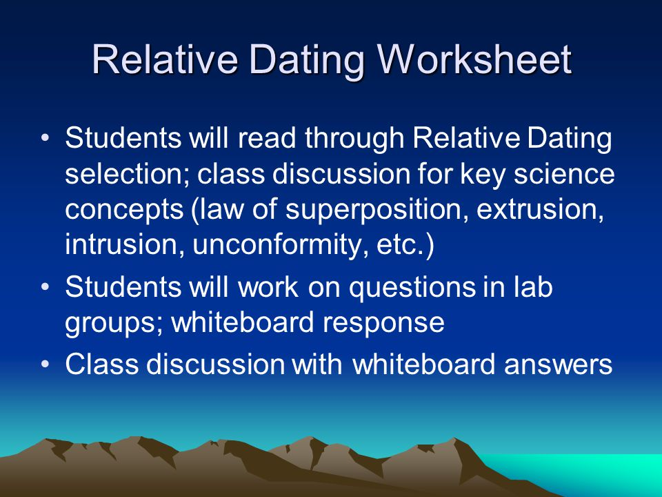 Relative Dating Worksheet