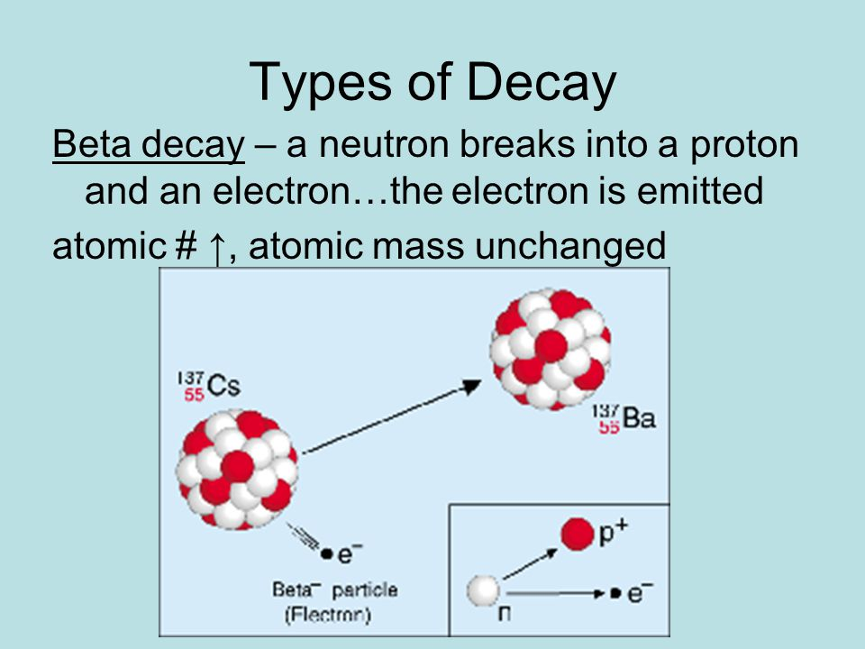 Types of Decay Beta decay – a neutron breaks into a proton and an electron…the electron is emitted.