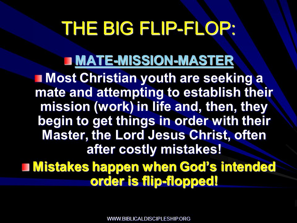 Mistakes happen when God's intended order is flip-flopped!
