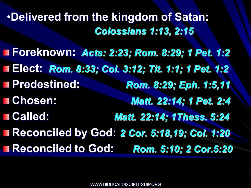 Delivered from the kingdom of Satan: Colossians 1:13, 2:15