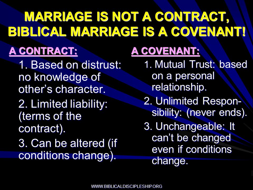 MARRIAGE IS NOT A CONTRACT, BIBLICAL MARRIAGE IS A COVENANT!