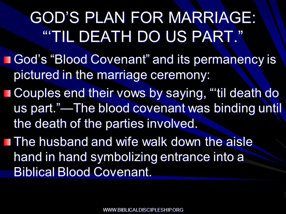GOD'S PLAN FOR MARRIAGE: 'TIL DEATH DO US PART.