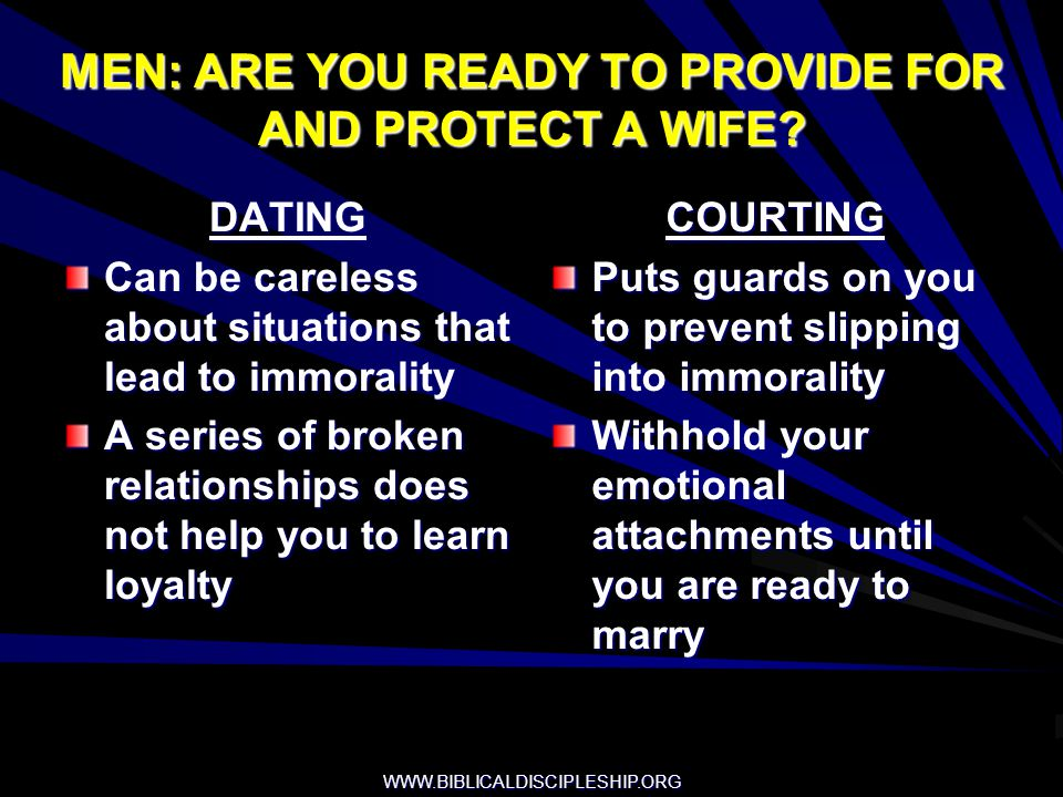 MEN: ARE YOU READY TO PROVIDE FOR AND PROTECT A WIFE