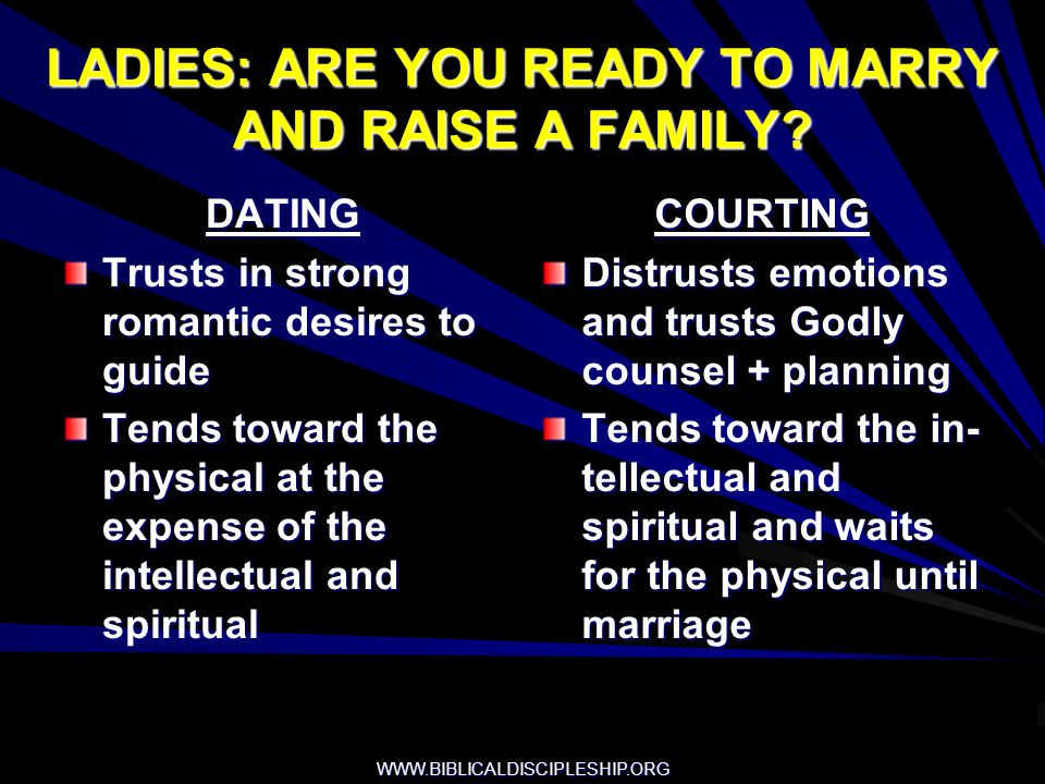 LADIES: ARE YOU READY TO MARRY AND RAISE A FAMILY