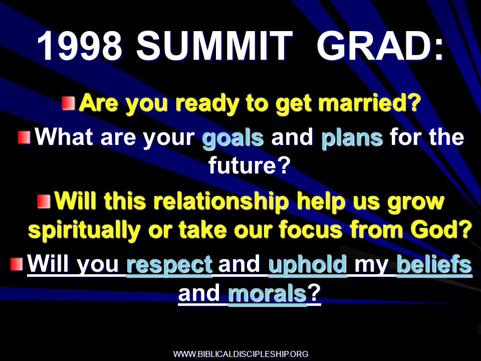 1998 SUMMIT GRAD: Are you ready to get married