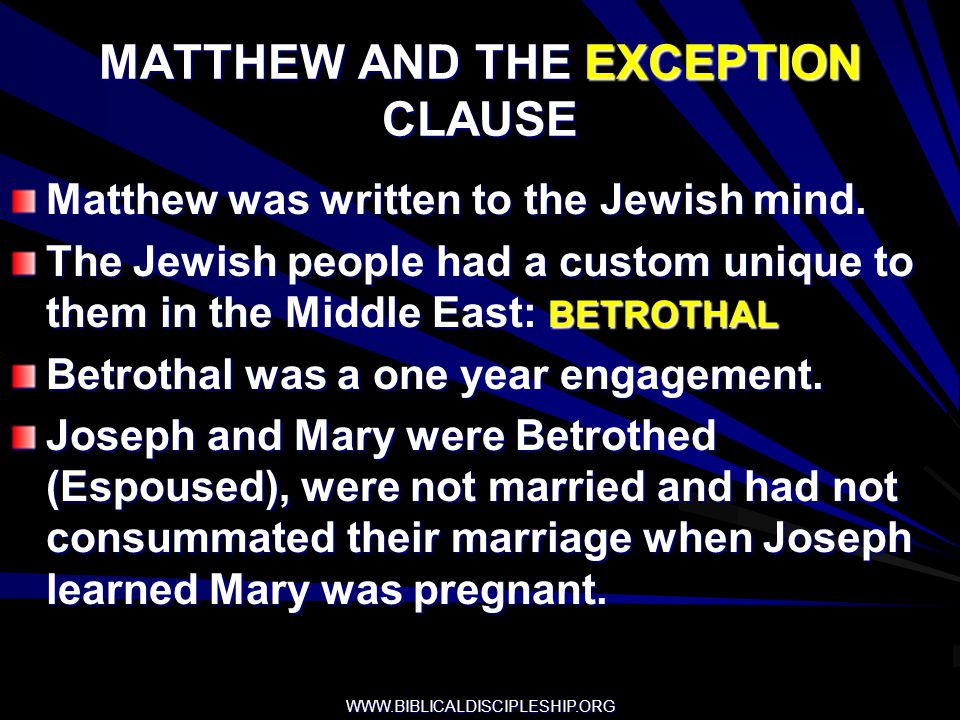 MATTHEW AND THE EXCEPTION CLAUSE