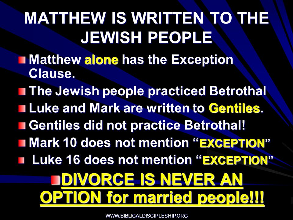 MATTHEW IS WRITTEN TO THE JEWISH PEOPLE
