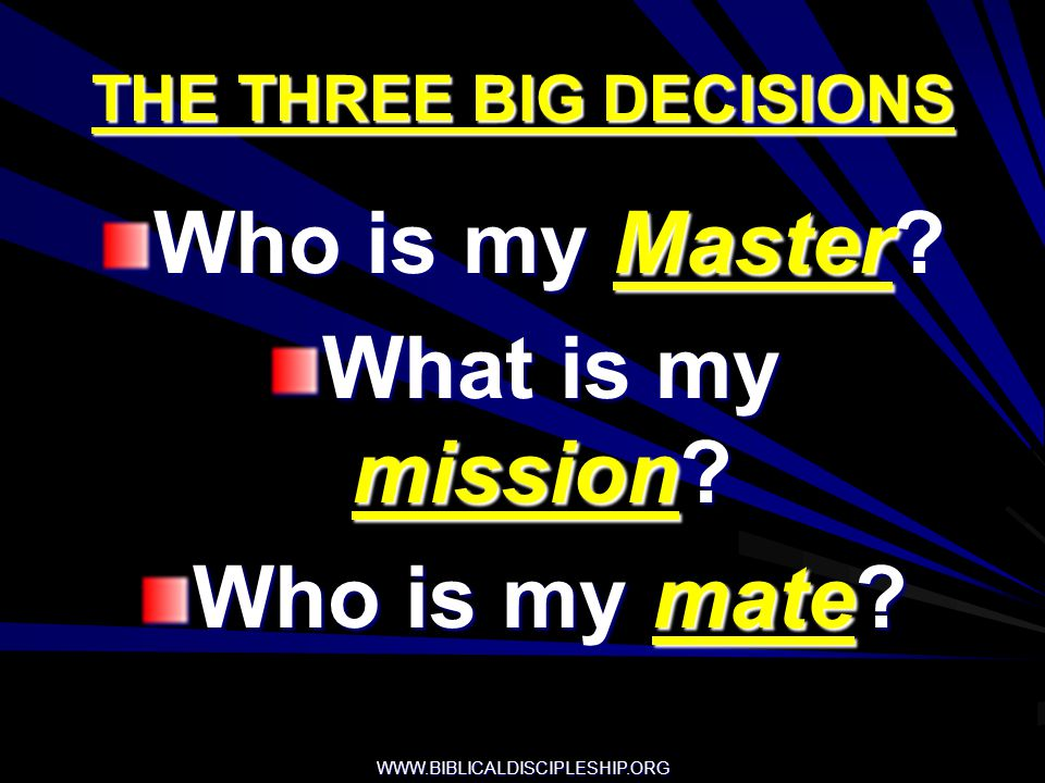 THE THREE BIG DECISIONS