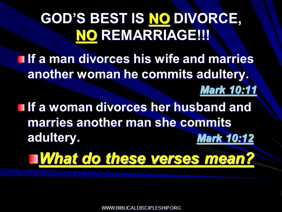 GOD'S BEST IS NO DIVORCE, NO REMARRIAGE!!!