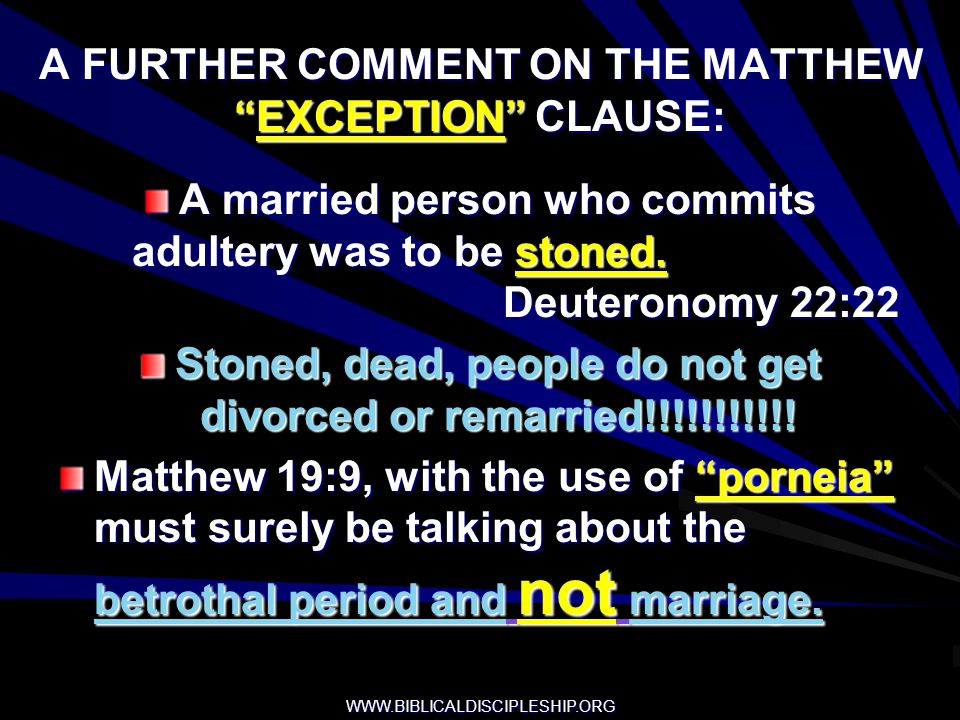 A FURTHER COMMENT ON THE MATTHEW EXCEPTION CLAUSE: