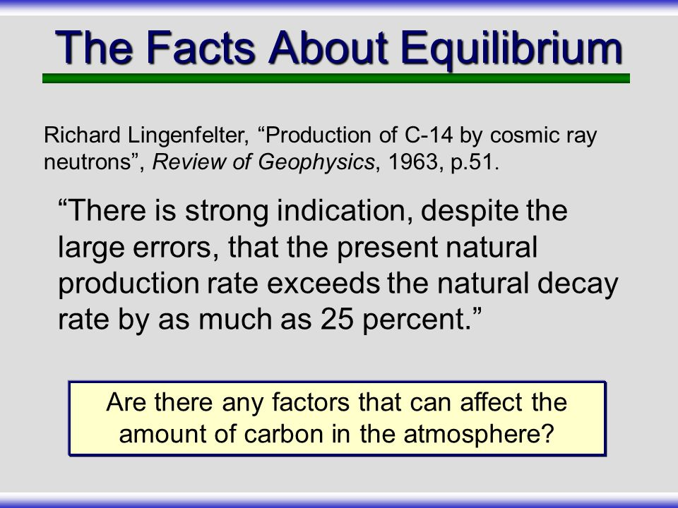 The Facts About Equilibrium
