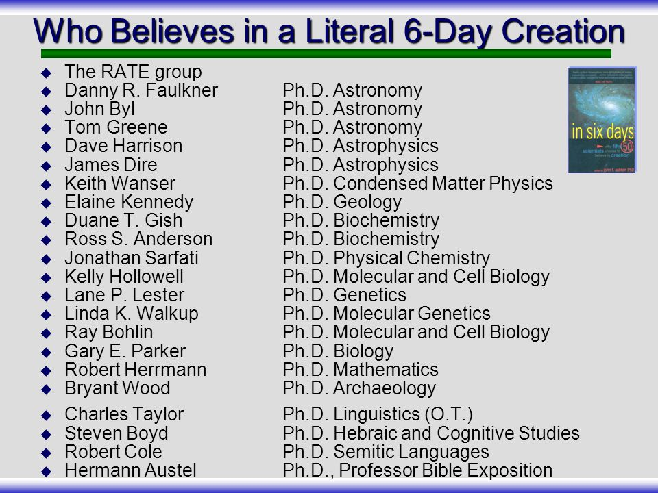 Who Believes in a Literal 6-Day Creation