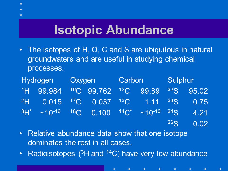 Isotopic Abundance The isotopes of H, O, C and S are ubiquitous in natural groundwaters and are useful in studying chemical processes.