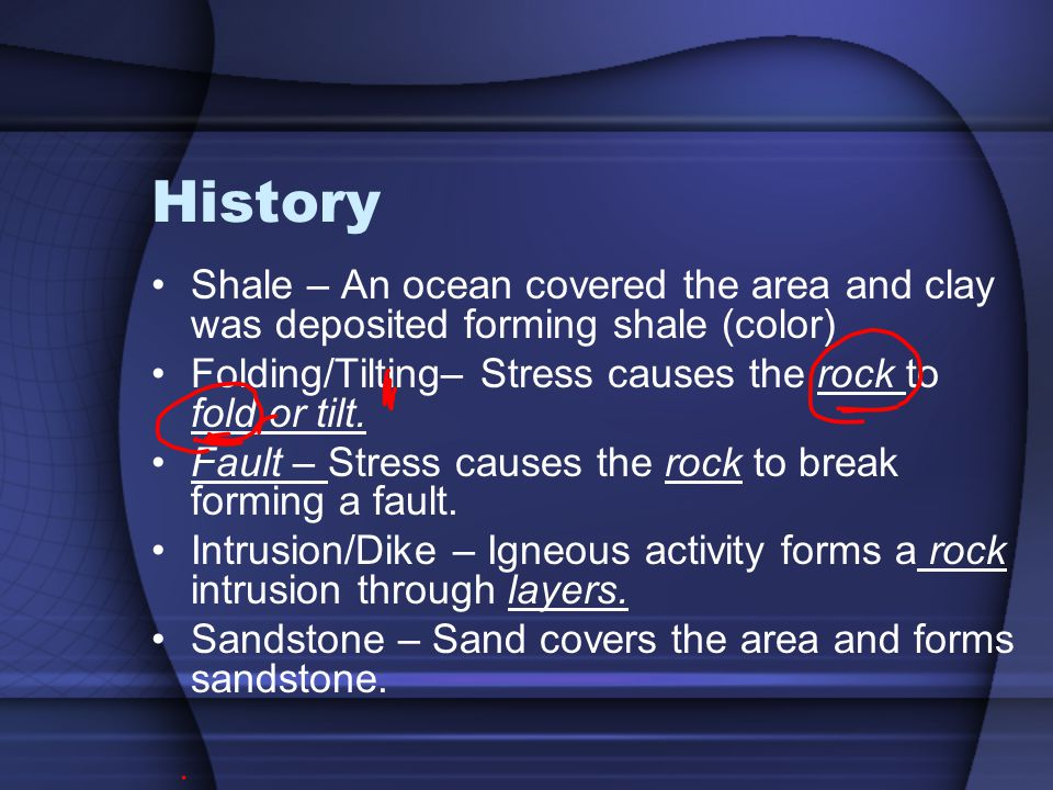 History Shale – An ocean covered the area and clay was deposited forming shale (color) Folding/Tilting– Stress causes the rock to fold or tilt.