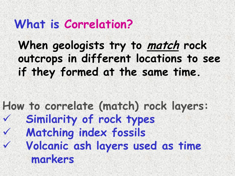 What is Correlation When geologists try to match rock outcrops in different locations to see if they formed at the same time.