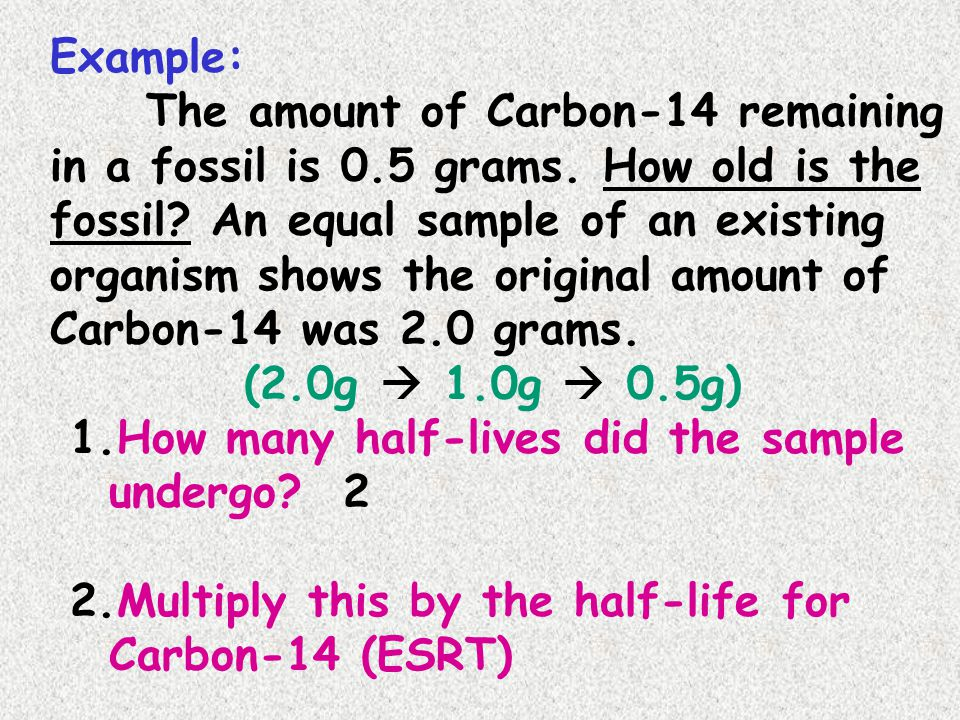Example: The amount of Carbon-14 remaining in a fossil is 0.5 grams. How old is the fossil An equal sample of an existing.