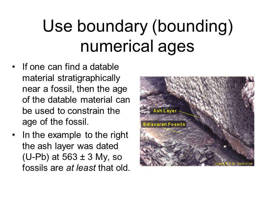 Use boundary (bounding) numerical ages