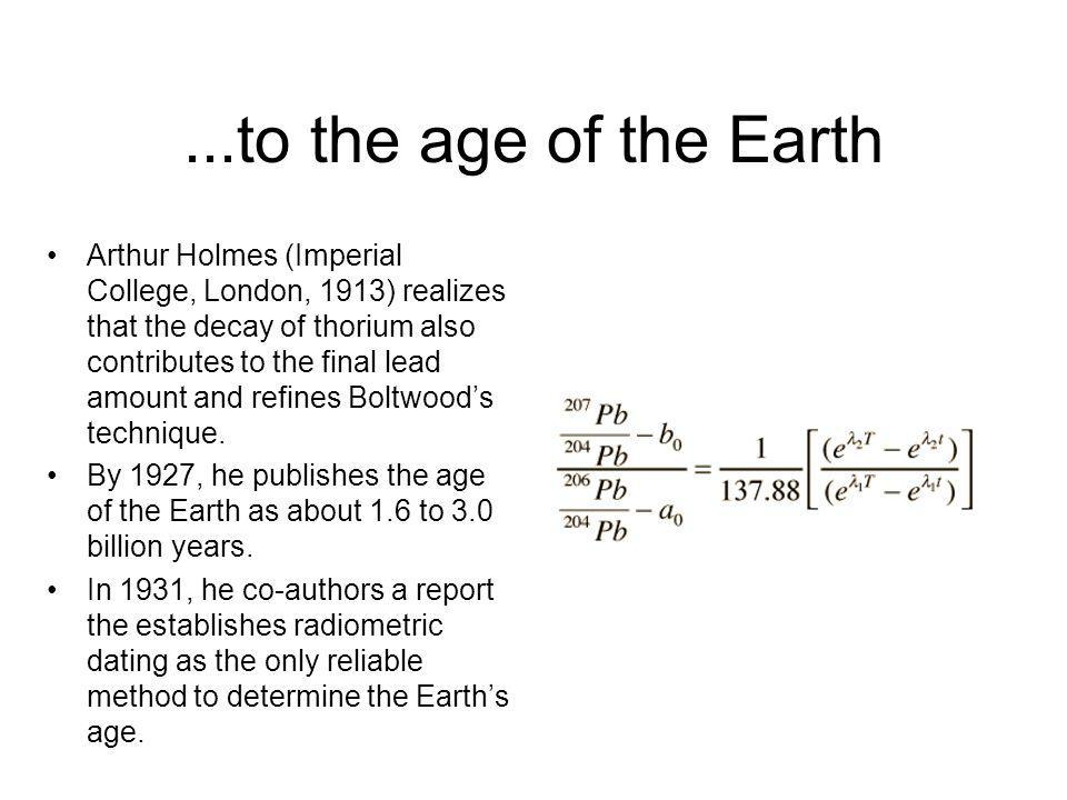 ...to the age of the Earth