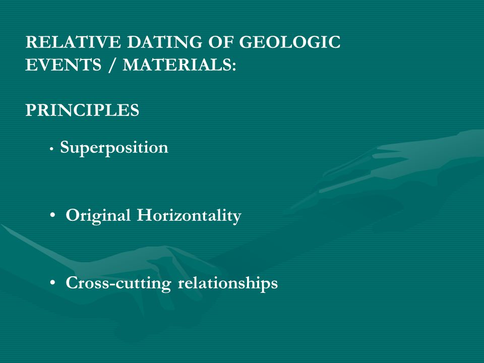 RELATIVE DATING OF GEOLOGIC EVENTS / MATERIALS: PRINCIPLES