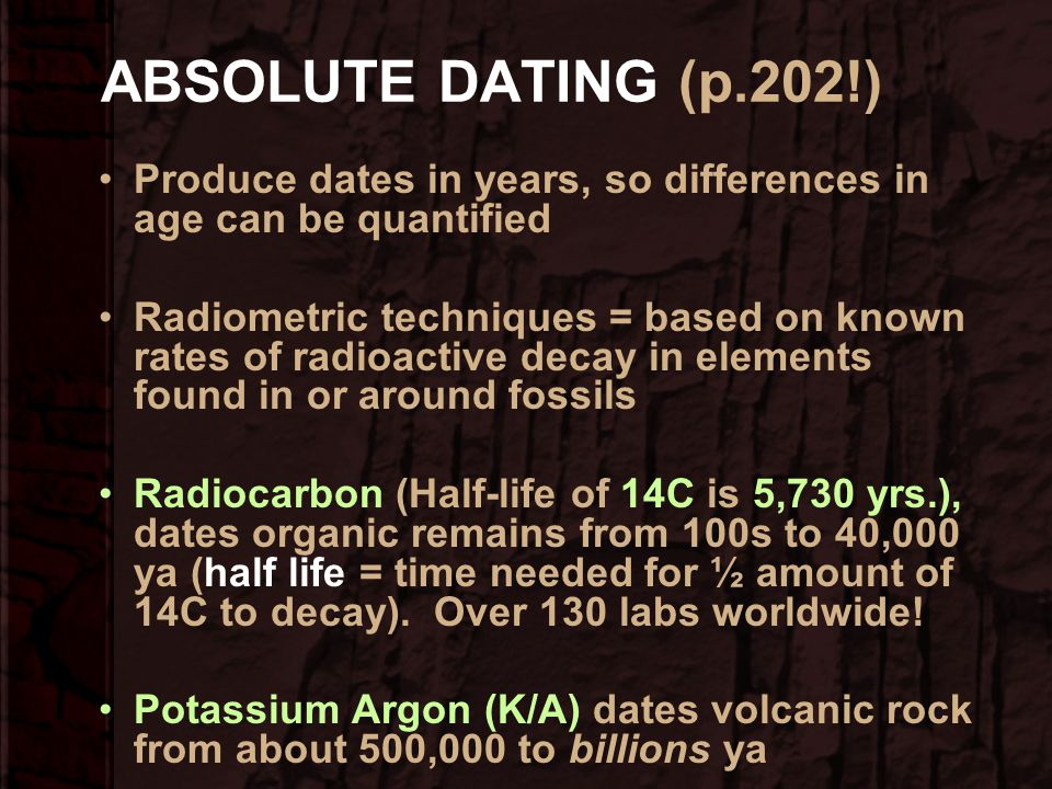 ABSOLUTE DATING (p.202!) Produce dates in years, so differences in age can be quantified.