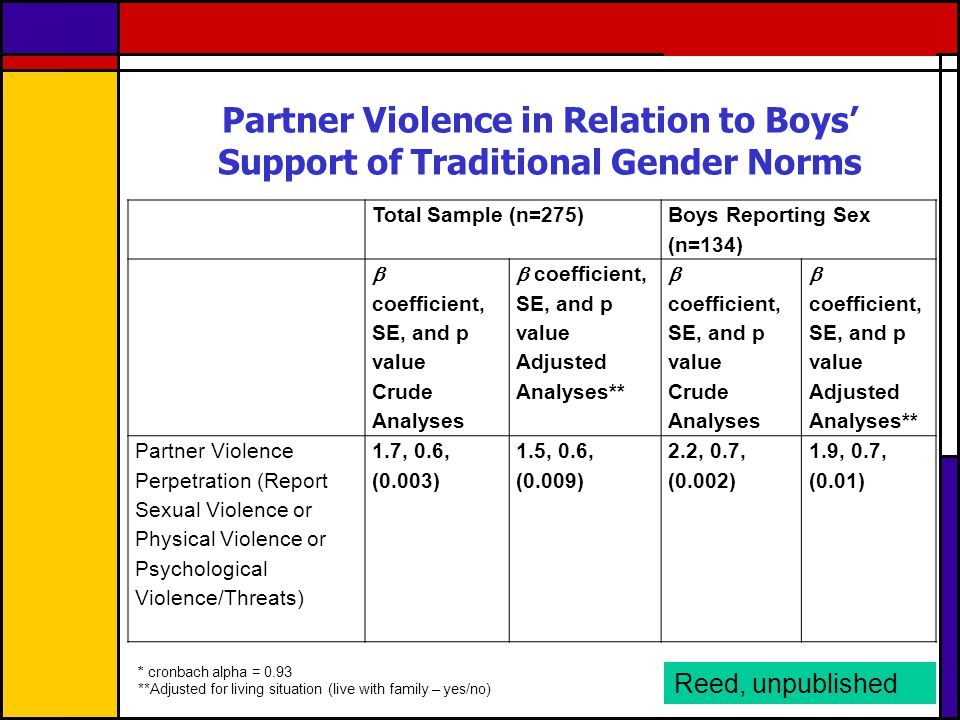 Partner Violence in Relation to Boys' Support of Traditional Gender Norms
