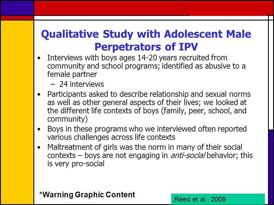 Qualitative Study with Adolescent Male Perpetrators of IPV